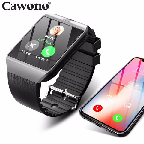 Black smartwatch and cell phone
