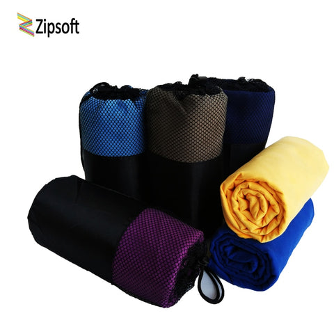 Zipsoft - Quick-Drying Microfiber Sports/Beach Towel with a Fabric Mesh Bag (S-XL Sizes)