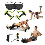 Ab Roller Wheel Trainer with Foot Plate and Resistance Bands