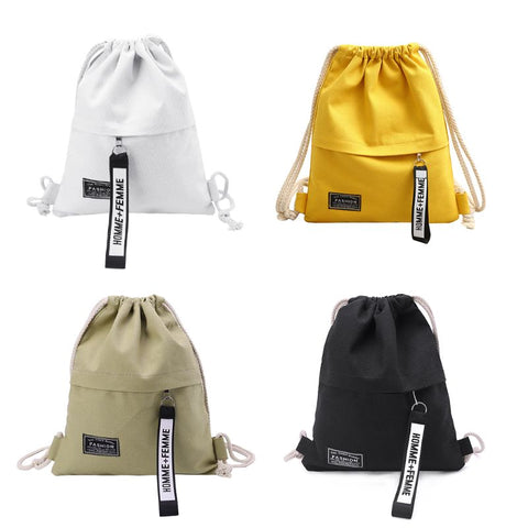 Homme+Femme - Small Canvas Drawstring Bag Cinch Sack