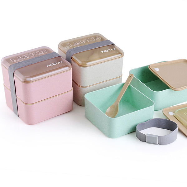 Square 2-Tier Lunch Box w/ Utensils
