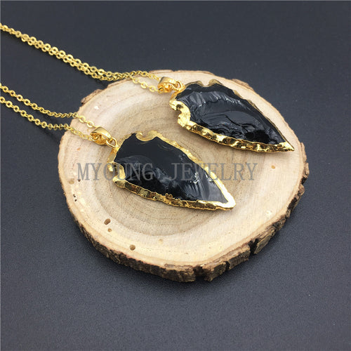 Arrow Black Obsidian Pendant Necklace