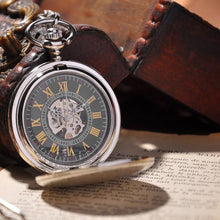 Load image into Gallery viewer, Pocket Watch Silver Shield Full Hunter
