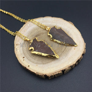 Arrow Jaspers Druzy Pendant Necklace