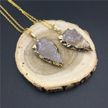 Load image into Gallery viewer, Arrow Agates Druzy Pendant Necklace
