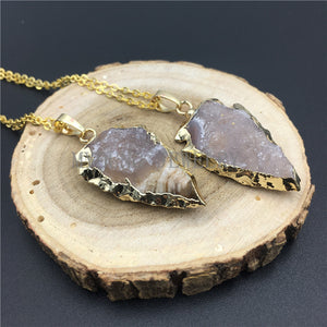 Arrow Agates Druzy Pendant Necklace