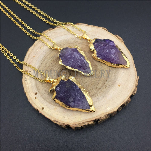 Arrow Purple Crystal Quartz Pendant Charm Necklace