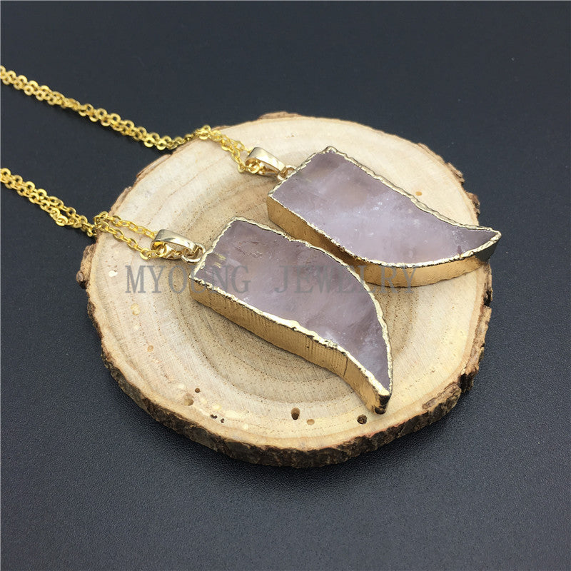 HornTusk Pink Quartz Pendant Charm Rose Quartzs Cladding Pure Gold Color Necklace Gold Color Chain