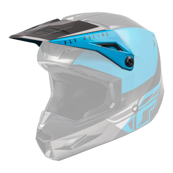 FLY '21 KINETIC STRAIGHT EDGE HELMET PEAK BLUE/GREY/BLACK