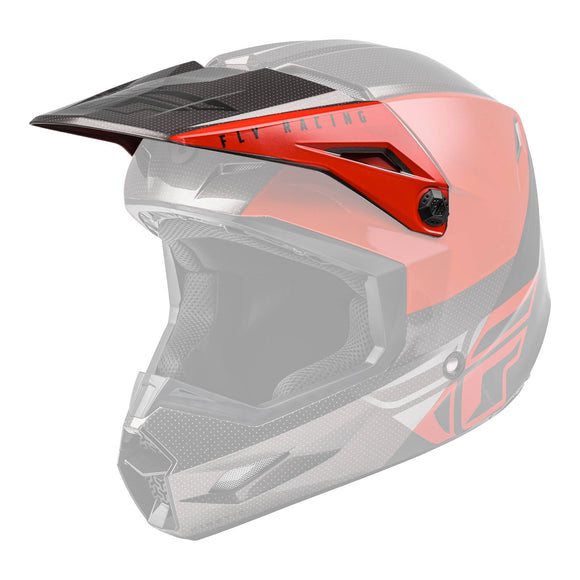 Fly 2021 Kinetic Straight Edge Helmet Peak - Red / Black / Grey