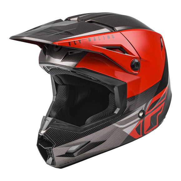 Fly 2021 Straight Edge Kinetic Youth Helmet - Red / Black / Grey