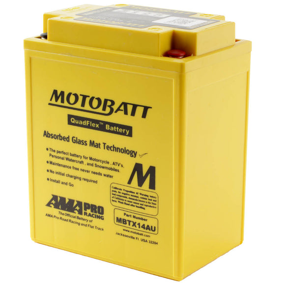 MBTX14AU MOTOBATT QUADFLEX BATTERY (4PCS/CTN)