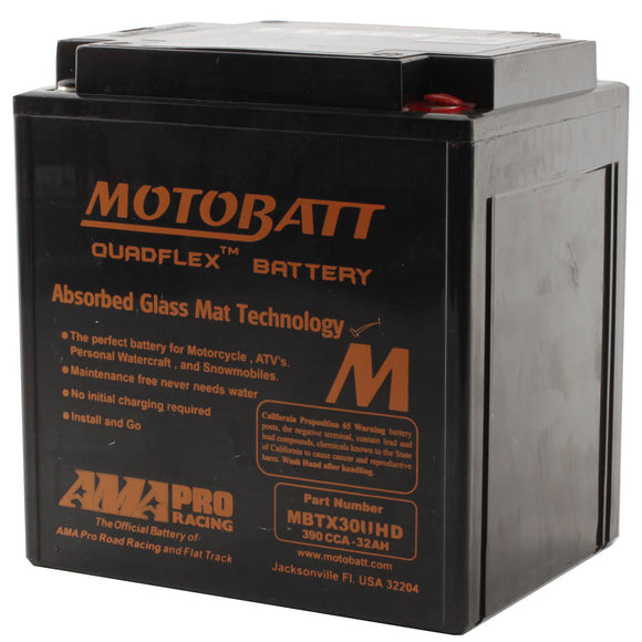 MBTX30UHD BLACK MOTOBATT QUADFLEX BATTERY (2PCS/CTN)