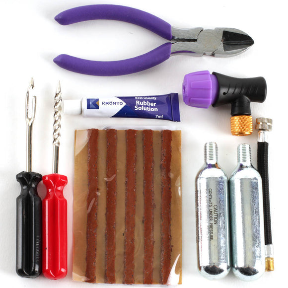 KRONYO PUNCTURE REP KIT COMPLETE (seals,CO2,tools,glue,bag)