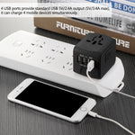 Universal Travel Adapter All-in-one International Travel Charger 5V 2.4A 4 USB Ports Wall Charger for US/EU/AUS/UK