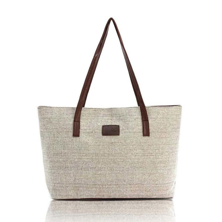 Women canvas linen vintage messenger shoulder tote bag for girls