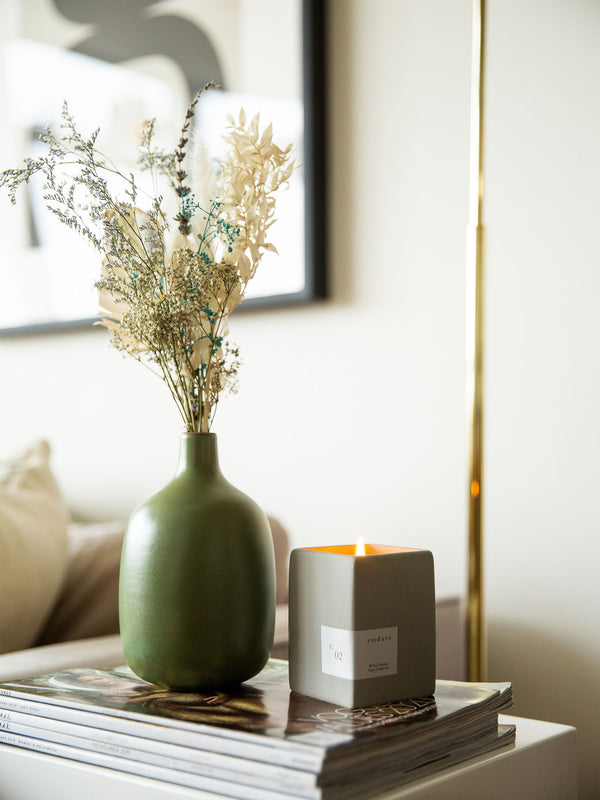Sundays Green Fig and Ginger Candle lifestyle