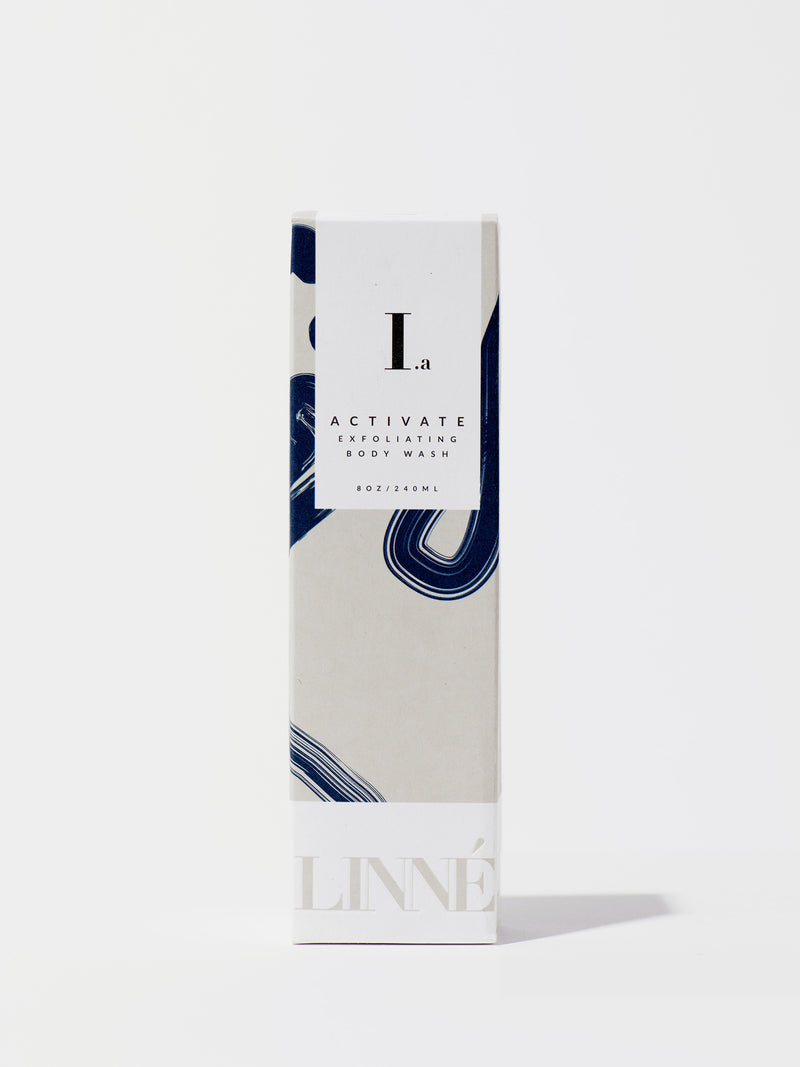 Linné Botanicals ACTIVE Exfoliating Body Wash Box Front