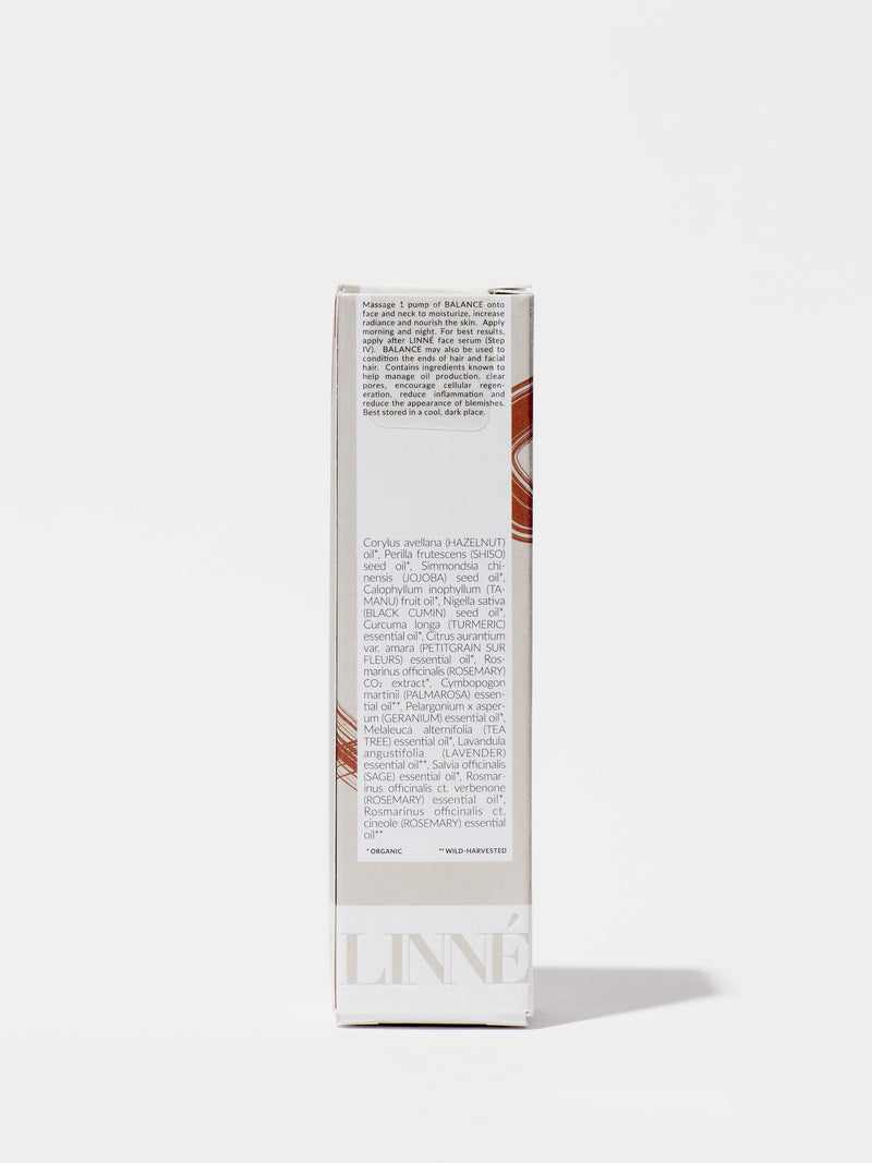 Linné Botanicals BALANCE Face Oil Box Back