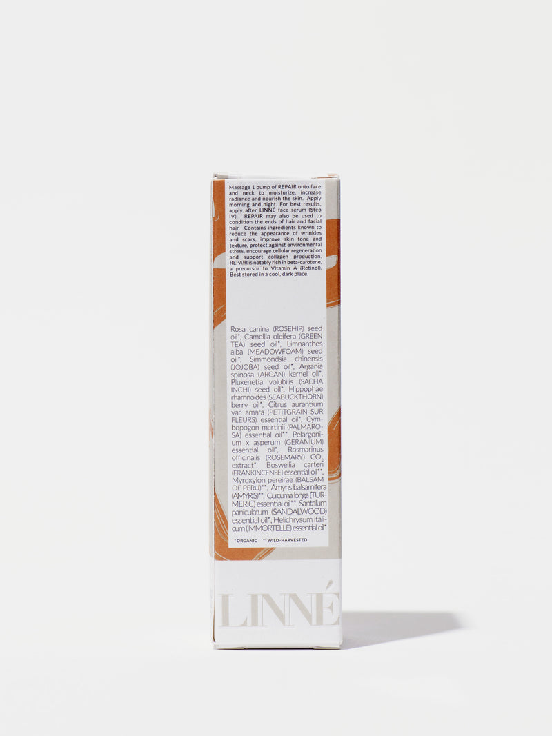 Linné Botanicals REPAIR Face Oil Box Back