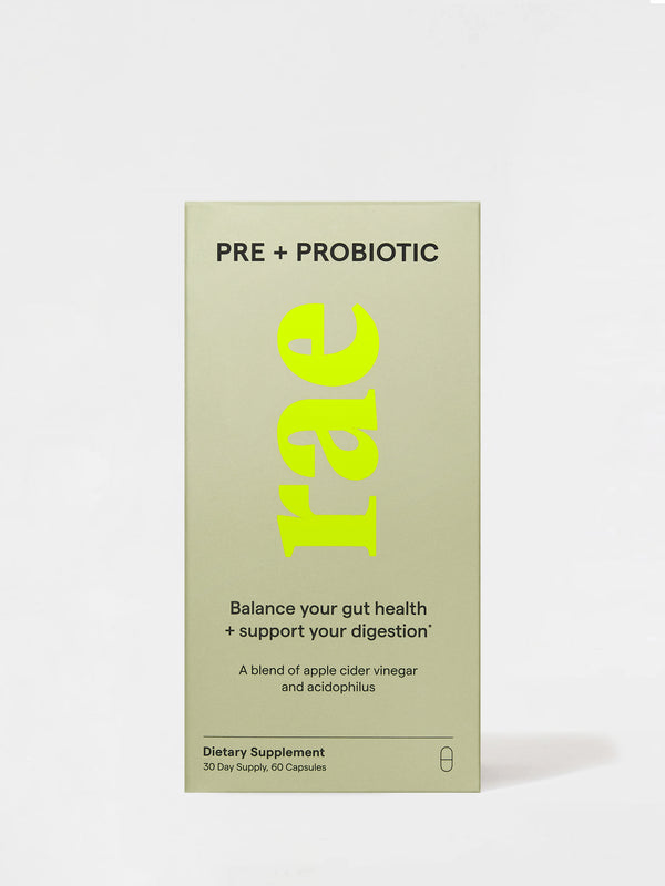 Rae Wellness Pre + Probiotic Capsules Front box