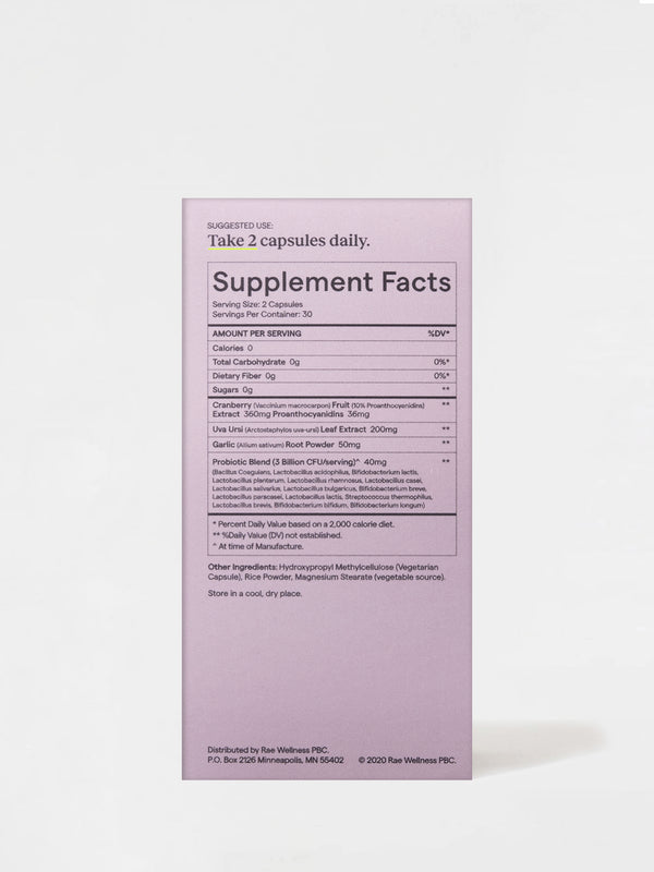 Rae Wellness Vaginal Balance Capsules back Box