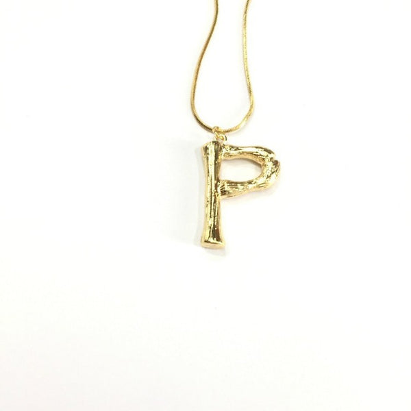 Gold Oversized Letter Pendant Necklace
