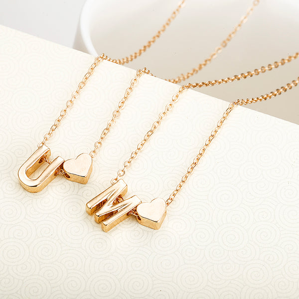Gold Heart Initial Pendant Necklace