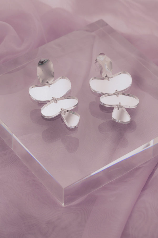 Rosalind Earrings - Silver Mirror