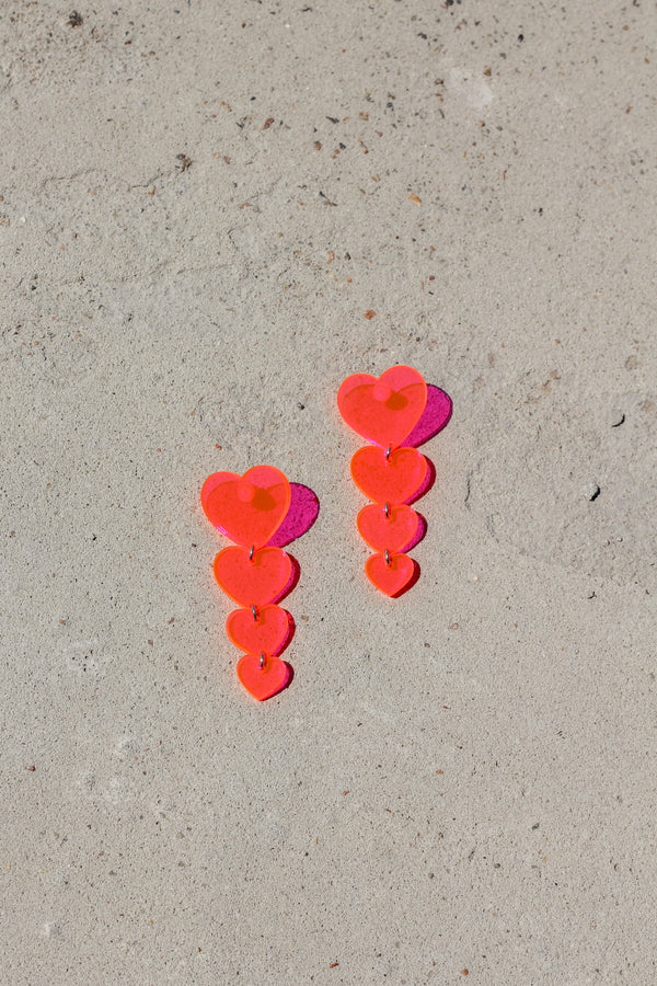 Heart Drop Earrings - Fluorescent Pink