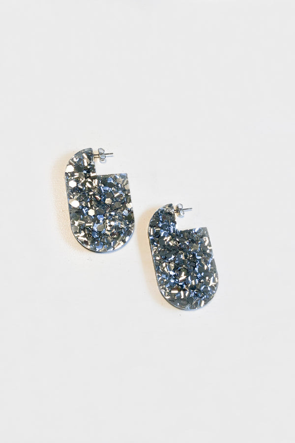 Esther Earrings - Silver Glitter
