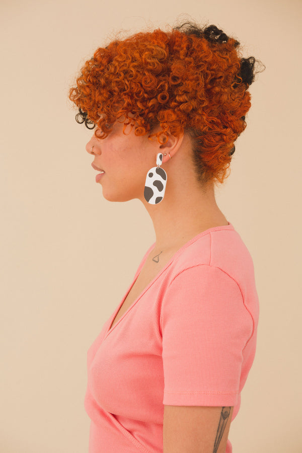 Dorothy Earrings - Cow Print