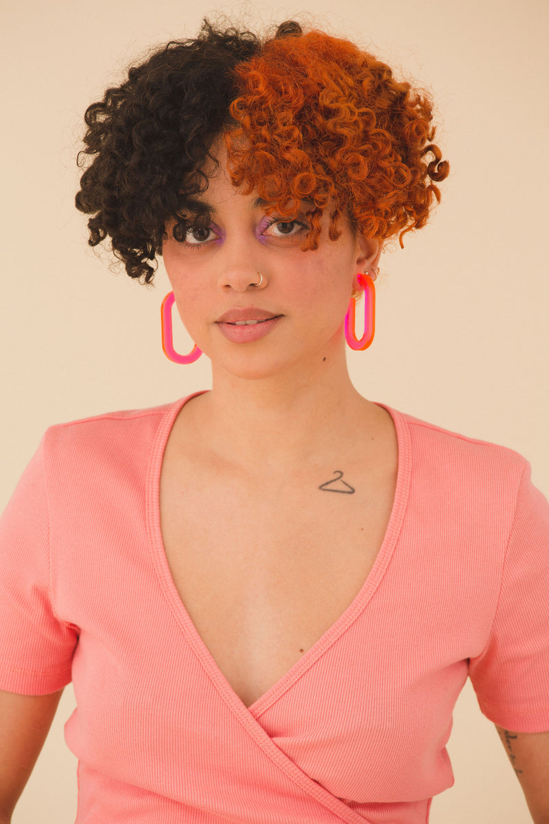 Frances Hoops - Fluorescent Pink