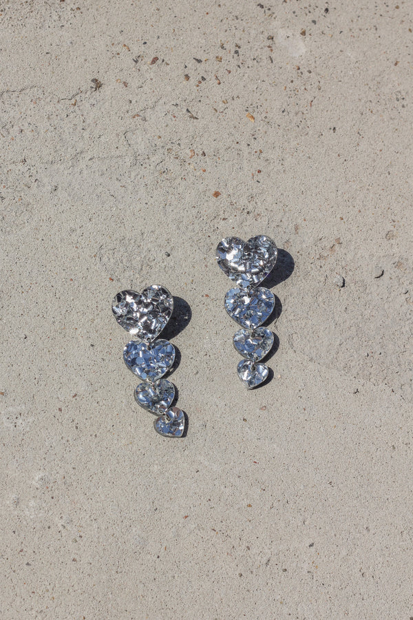 Heart Drop Earrings - Silver Glitter