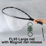 Maximumcatch Fly Fishing Landing Net Solid Carbon Fiber Frame Clear Rubber Net