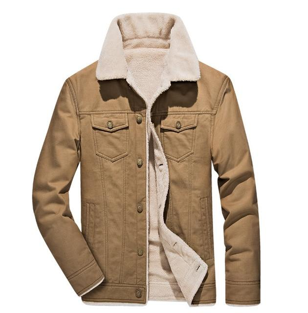 The Stonybrook Fleece-Lined Borg Collar Jacket Khaki