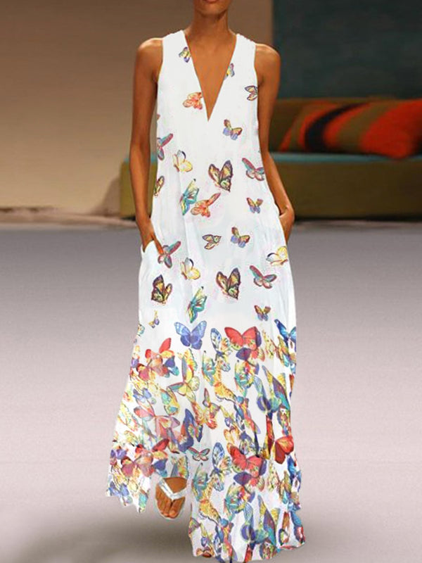 Butterfly Printed Maxi Dresses V Neck White Women Dresses Shift Daily