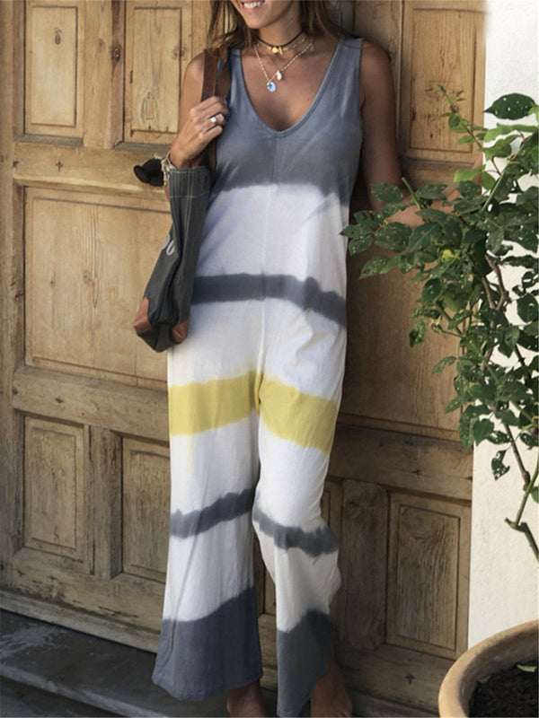 Casual Tie Dye Loose sleeveless print contrast color jumpsuit