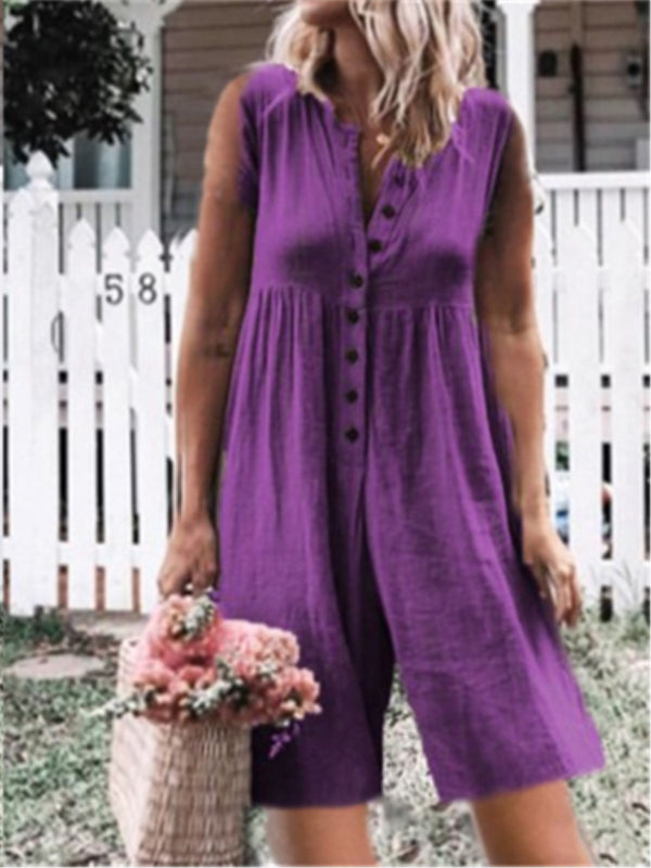 Casual Sleeveless Buttoned Crew Neck Plus Size Jumpsuits