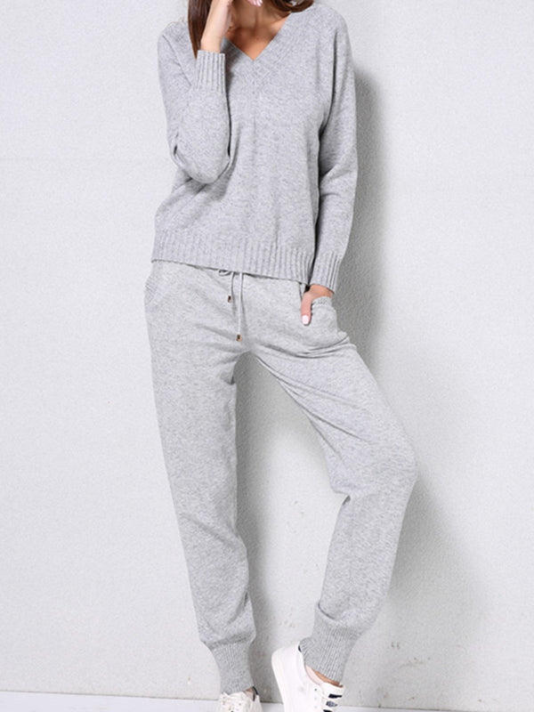 Knitted Shift Long Sleeve Plain Suits