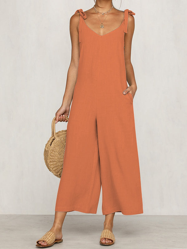 4 color Casual Bandage Loose Jumpsuits