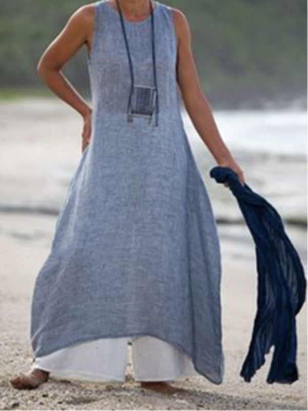 Vintage Asymmetric Sleeveless Crew Neck Linen Plus Size Dress