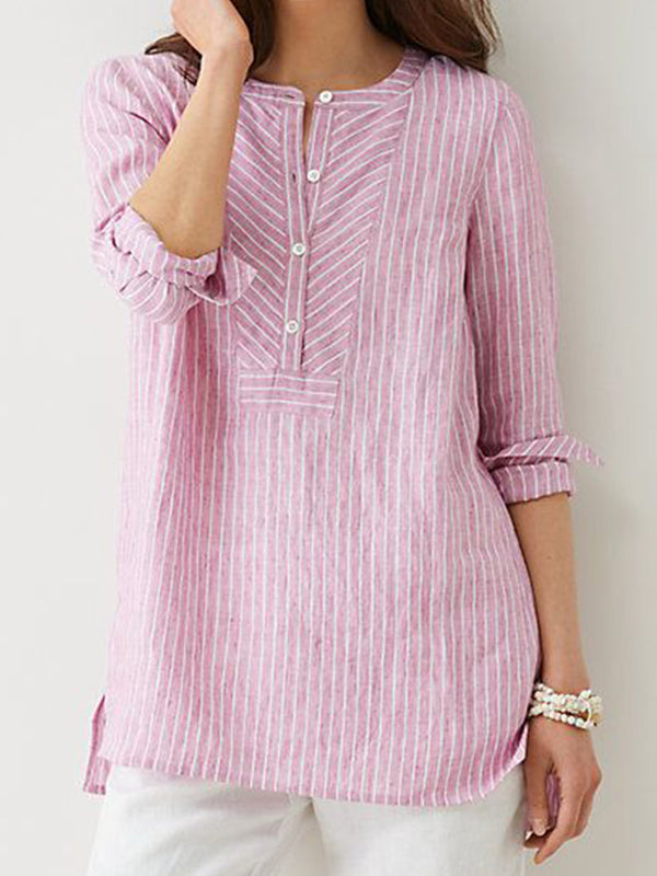 Women Striped Blouses Buttoned Stand Collar Slit Side Casual Shirts