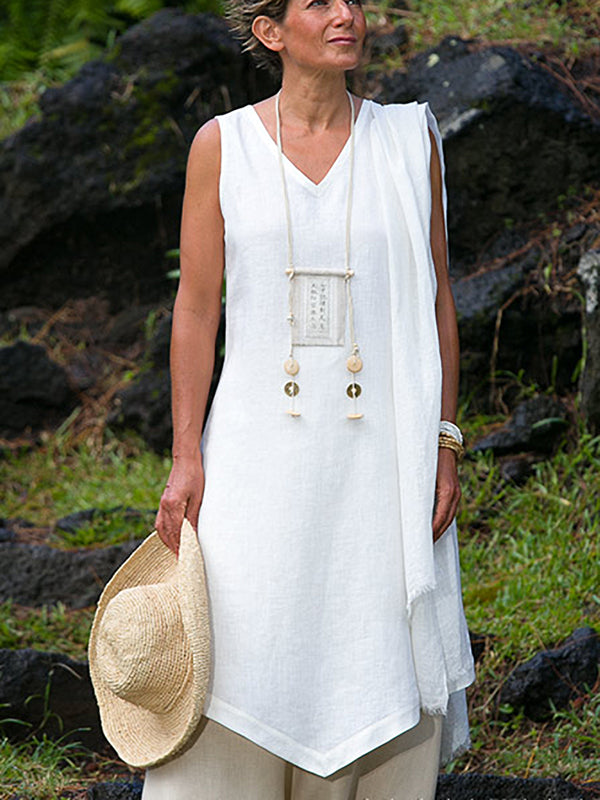 White Cotton V Neck Sleeveless Dresses
