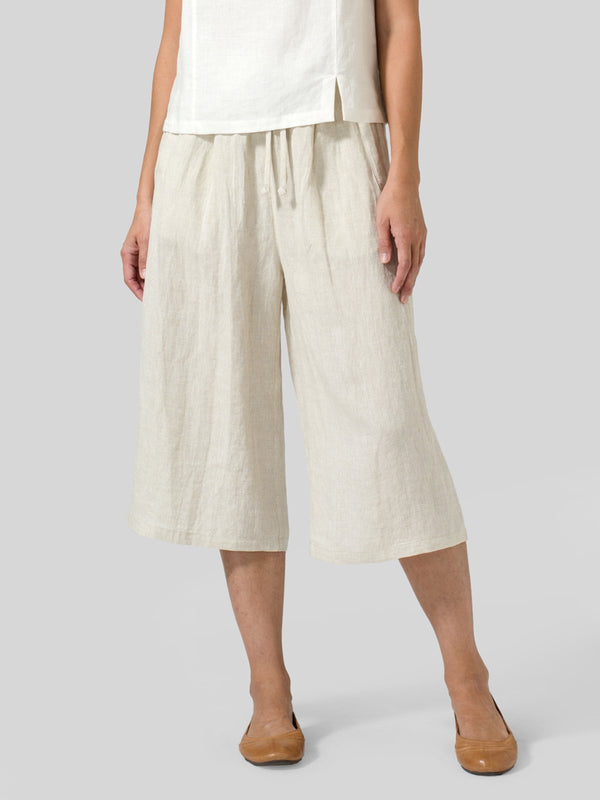 Casual Plain Cotton Drawstring Pants