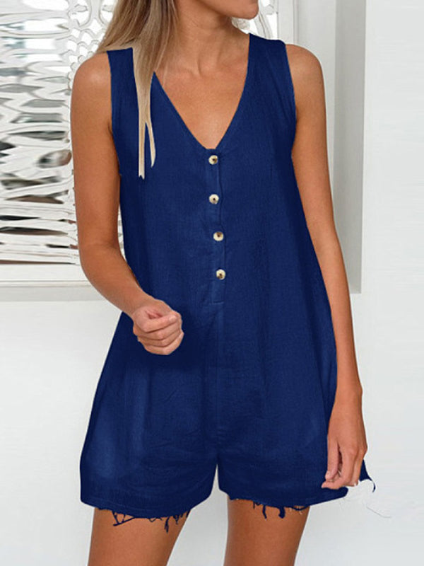 Sleeveless Cotton Casual One-Pieces