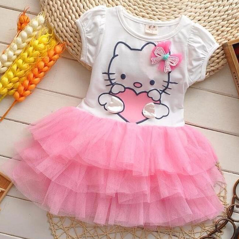 f812f3026 Toddler Girls Summer Hello Kitty tutu Princess Dresses
