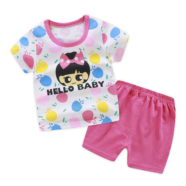 a9c64dbe20338 children clothing sets cartoon toddler girls clothing sets top+pant 2Pcs/ sets