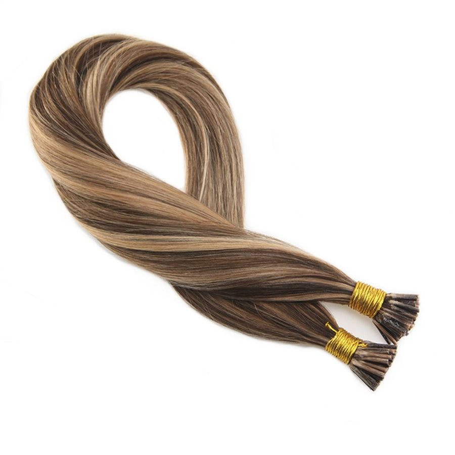 Moresoo I tip  Hair Extensions #4 Highlights with #27 50g/set Keratin I Tip Hair Extensions100 Remy Hair Extensions