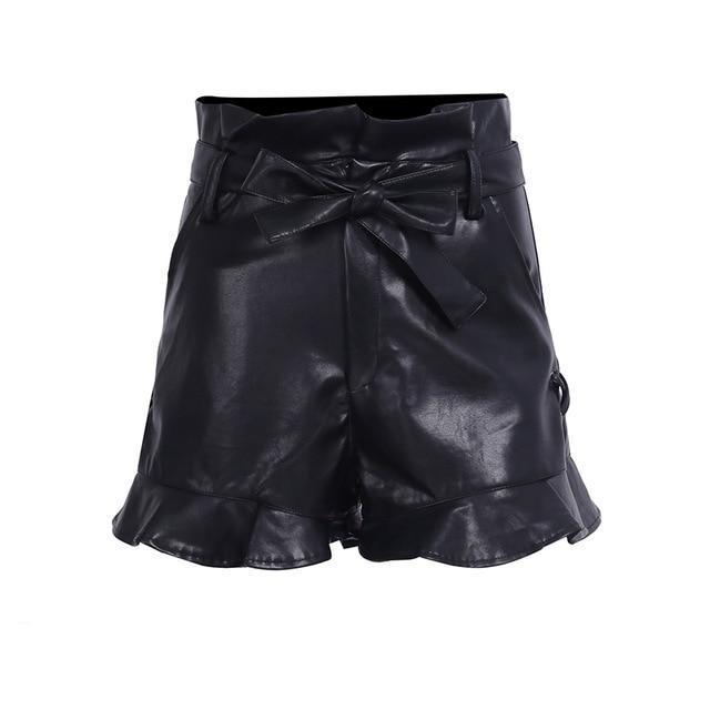 lace up Leather shorts cinched belt